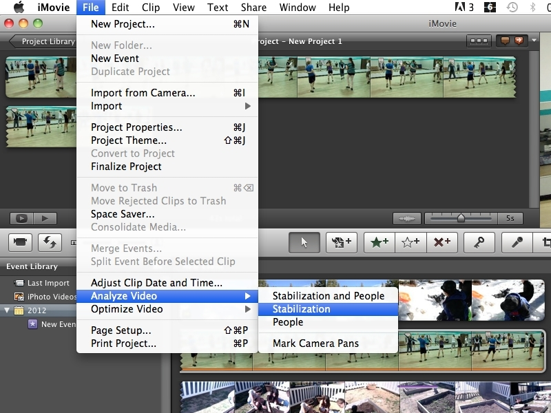 Stabilizing and Exporting w/iMovie