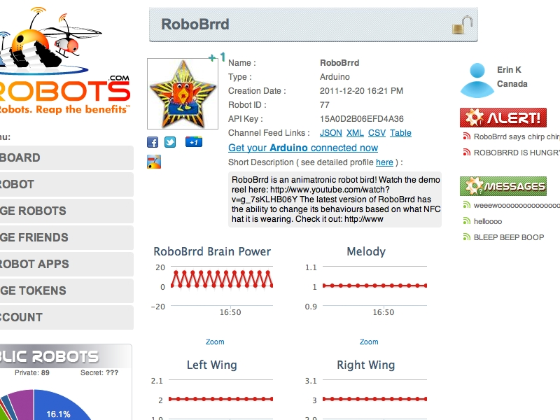 Connecting Your Robot to MyRobots /ThingSpeak