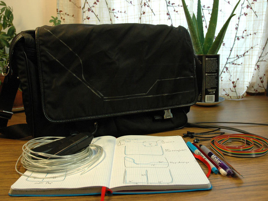 Tron Bag with EL Wire