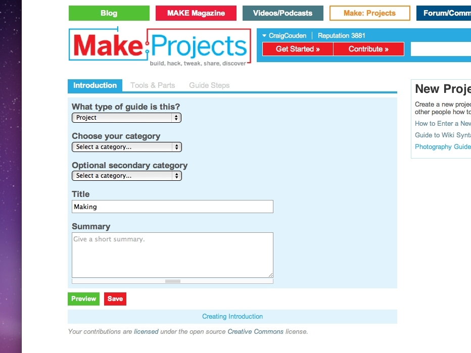 New Project: Enter a Project on Make:Projects